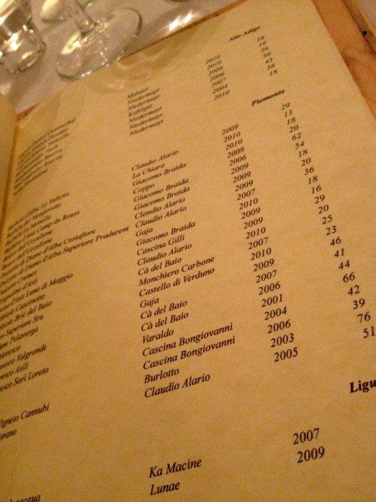 Osterialnove - carta vini