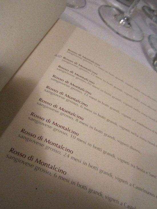 Osteria Brunello - La lista dei Rossi di Montalcino