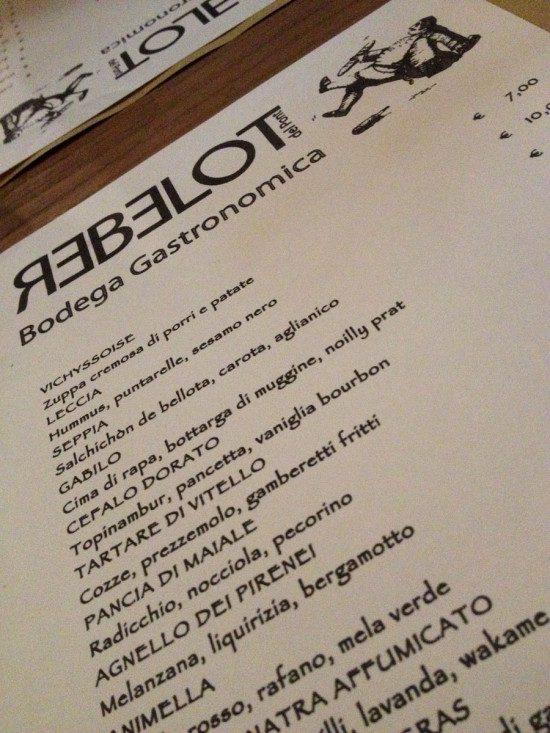 Rebelot - menu