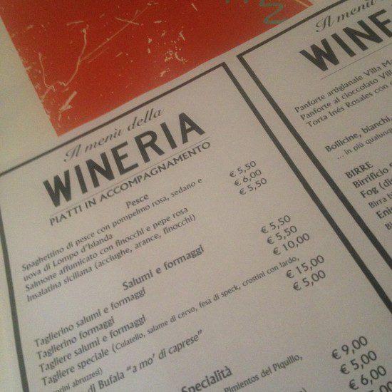 Lista vini Wineria
