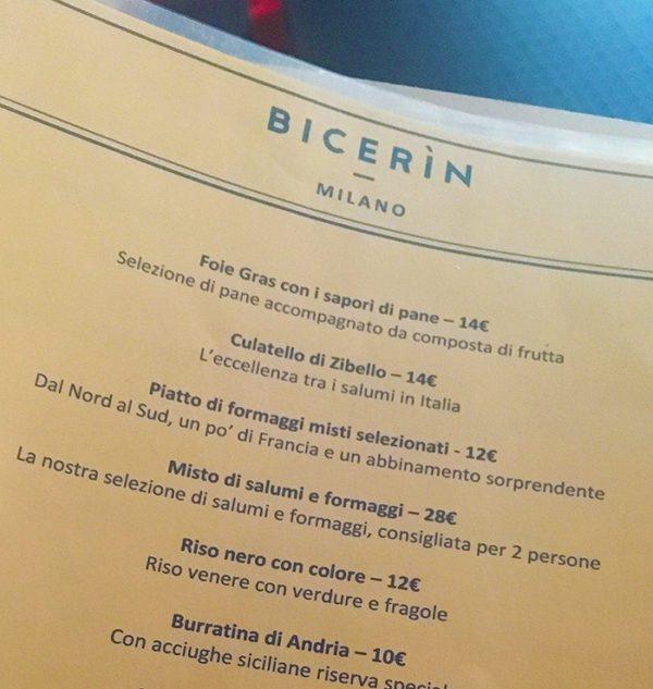 Bicerin - Proposta cibo